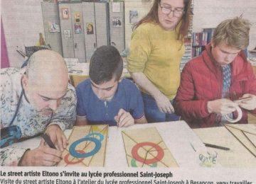 Le street artiste Eltono s'invite au lycée professionnel Saint-Joseph || (Est républicain du 25 mars 2017)