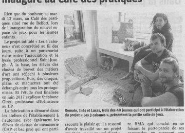 Le projet «Les 3 cabanes» inauguré au Café des pratiques || (Est républicain du 17 mars 2018)