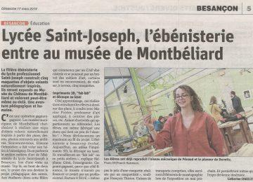 Lycée Saint-Joseph, l'ébénisterie entre au musée de Montbéliard || (Est républicain du 17 mars 2019)