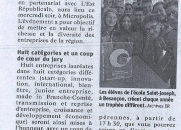 Remise des Trophées de l'entreprise ce mercredi (Est républicain du 25/09/2019)