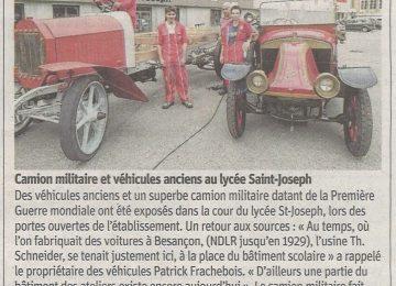 Camion militaire et véhicules anciens au lycée Saint-Joseph || (Est républicain du 18 juin 2018)