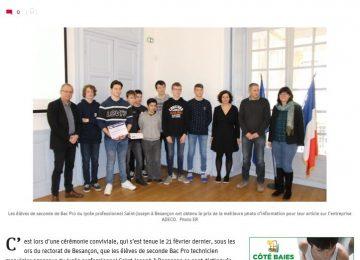 Les élèves de seconde Bac Pro du lycée professionnel Saint-Joseph se distinguent (Est républicain, publié en ligne le 11 mars 2020)